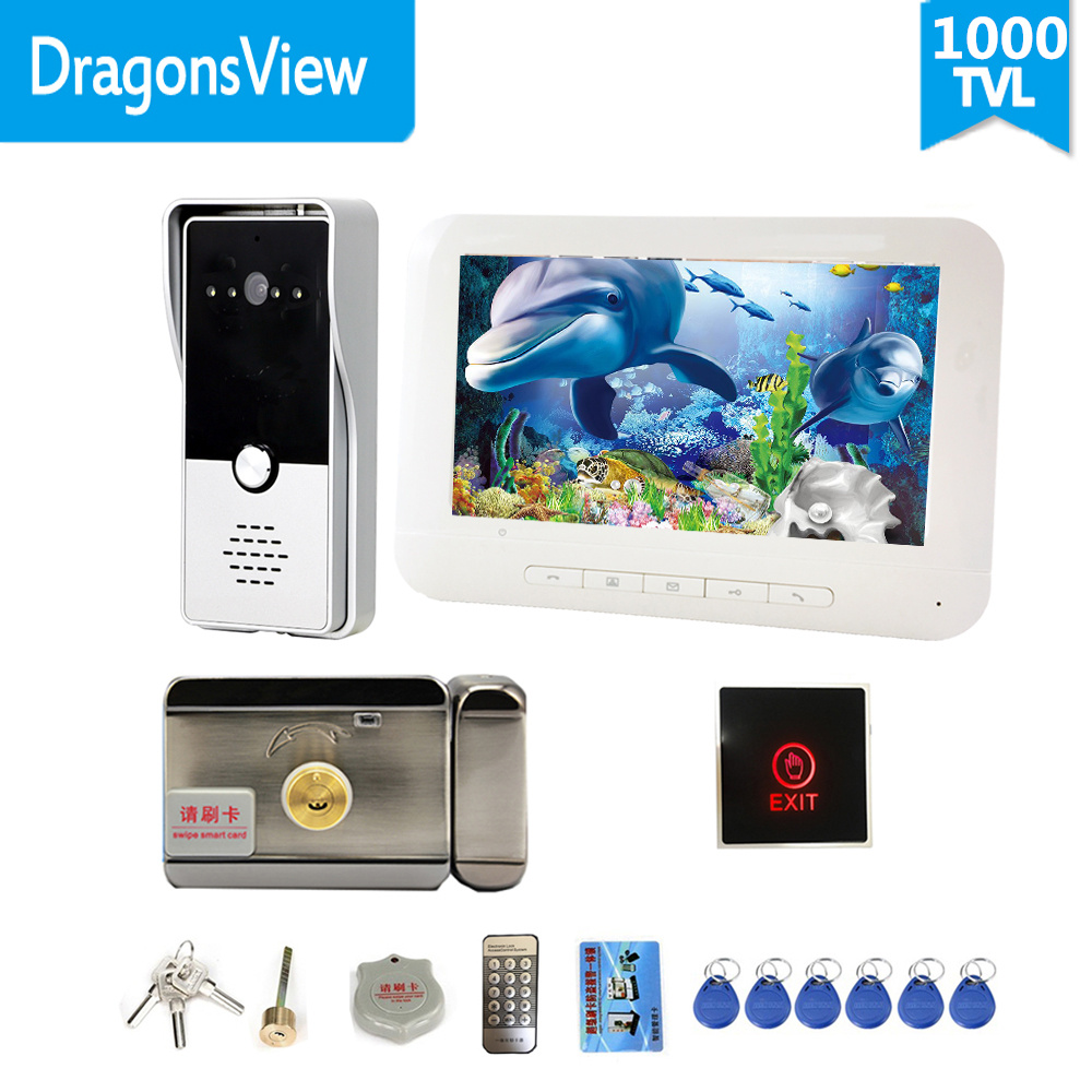 Dragonsview Video Door Phone Doorbell Intercom System With Electric Lock 7 Inch White Unlock Exit Button  Talk