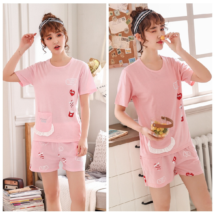 New Style Autumn Comfortable Short Sleeve Sweet Pajamas Underwear Cardigan GIRL'S Convention Women's Home Wear