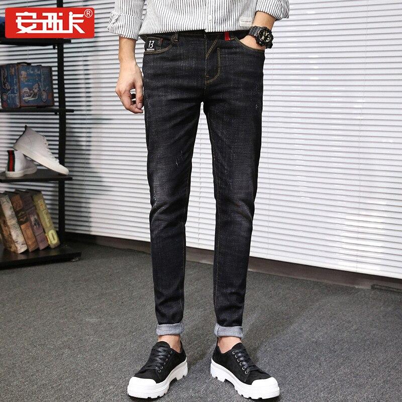New Style Men's Autumn Thick-Jeans Young MEN'S Korean-style Slim Fit Skinny Pants Cotton Elastic Cowboy Trousers 1823