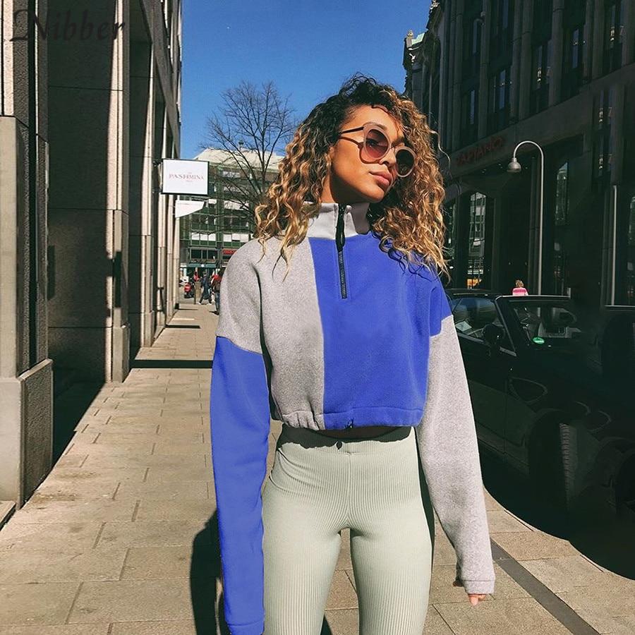 Nibber Pure Patchwork Street Casual Hoodie Women Tops 2019autumn Loose Slim Sweatshirt Mujer Harajuku Basic Active Wear Pullover