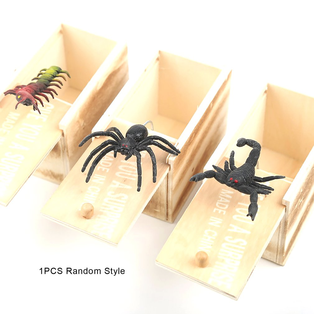 April Fool's Day Gift Wooden Prank Trick Practical Joke Home Office Scare Toy Box Gag Spider Mouse Kids Funny Gift
