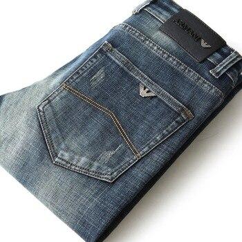 Luren Men's Jeans Autumn Slim Elastic Italy Fashion Business Trousers Classic Style Winter Cotton  Denim Pants 1