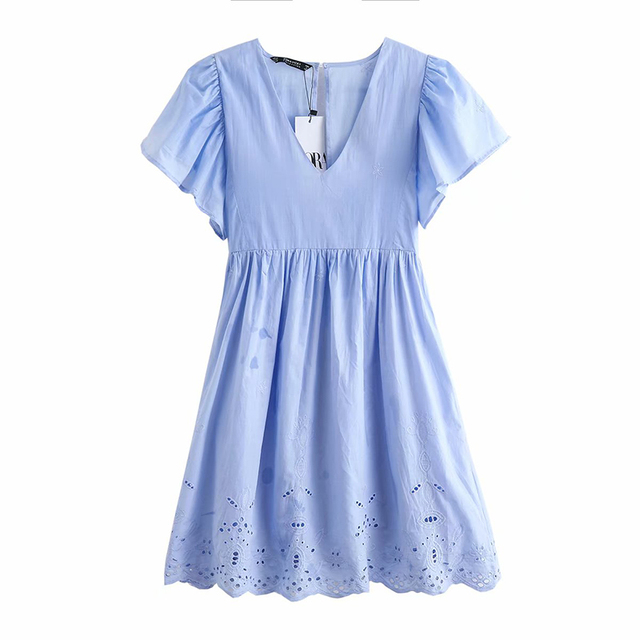 summer embroidery Mini dress vestidos vintage Blue short sleeve hollow out on back collect waist party dress women ropa mujer