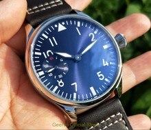 44มม.No Logo Light Blue Dialเอเชีย6497 17 Jewelsกลไกการเคลื่อนไหวนาฬิกาผู้ชายสีเขียวส่องสว่างนาฬิกา18