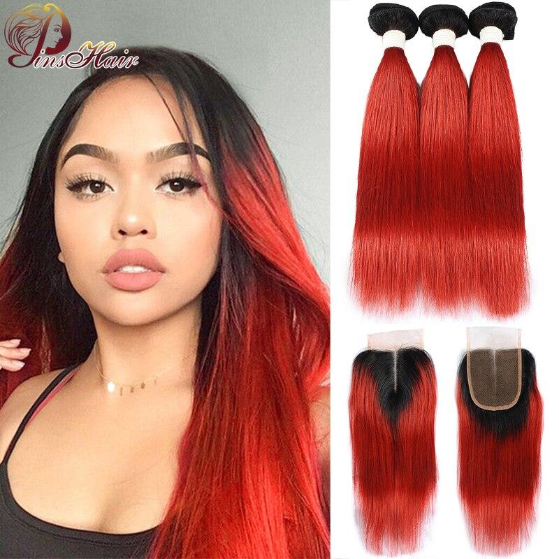 Pinshair Human Hair Bundles With Closure 1B Red 99J Burgundy Straight Hair 3 Bundles With Closure Peruvian Non-Remy Hair Bundles