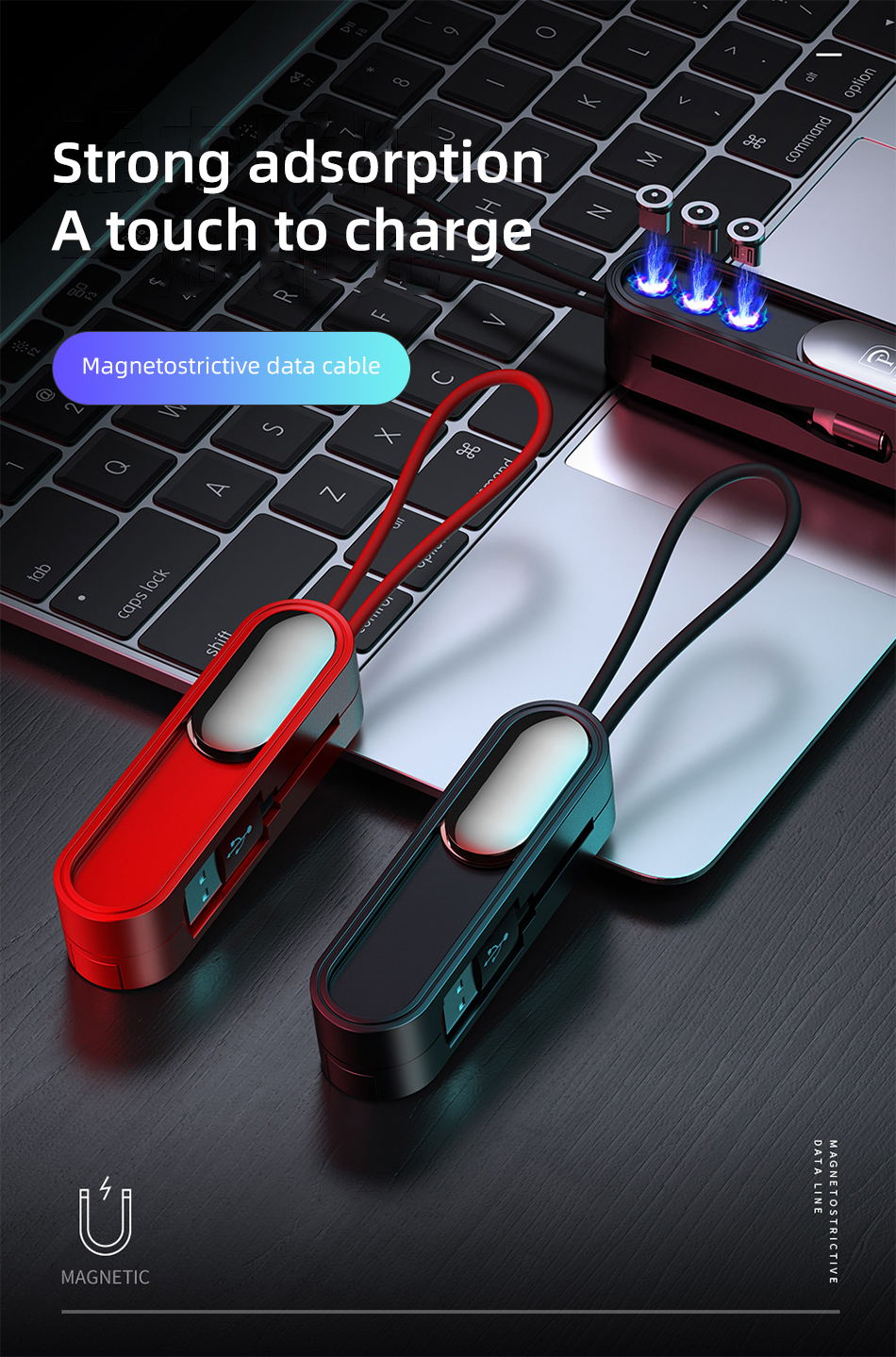 !ACCEZZ 3 in 1 Short Magnetic USB Cable With Magnetic Plug Box Storage For iPhone 11 Pro XS MAX XR X Huawei Xiaomi Charging Wire (2)