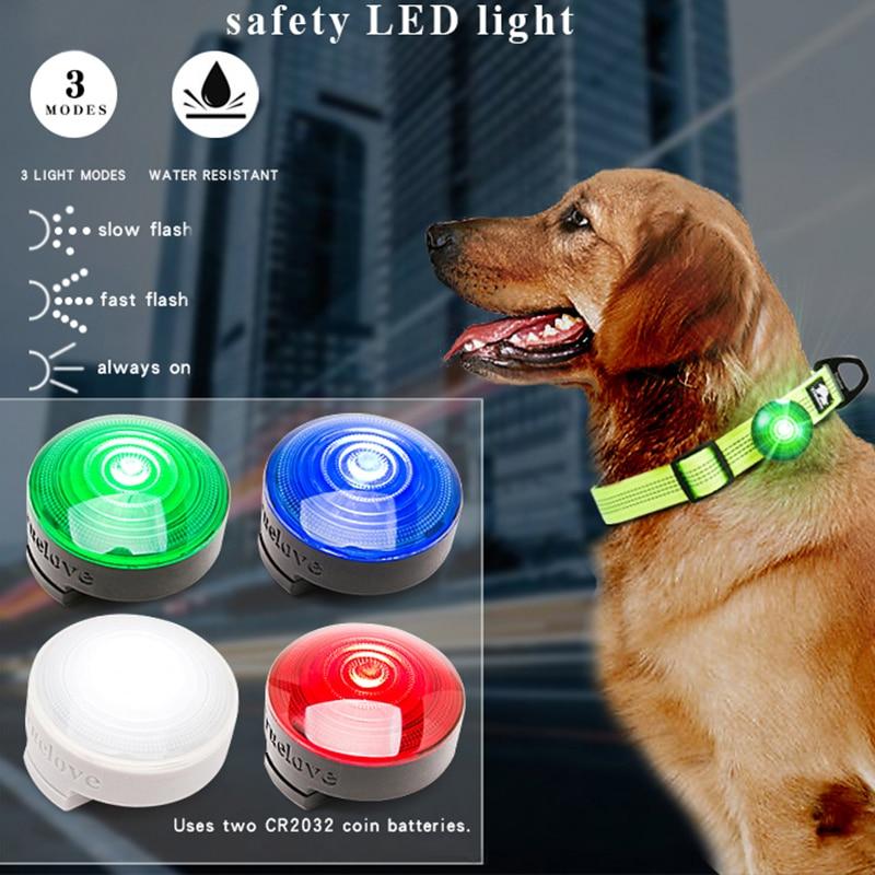 LED Dog Collar Pendant Tag Flashing Pet Puppy Luminous Night Safety Light Lamp