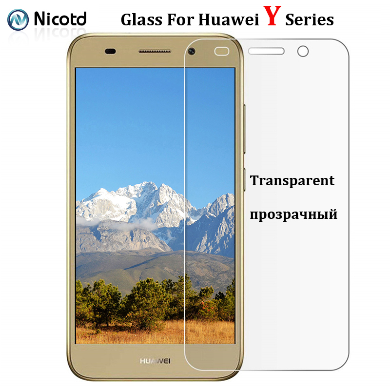 9H Tempered Glass For Huawei Y3 Y5 Y6 Y9 2017 Screen Protector on huawei y9 y7 y6 y5 y3 2018 2019 Transparent Protective Glass