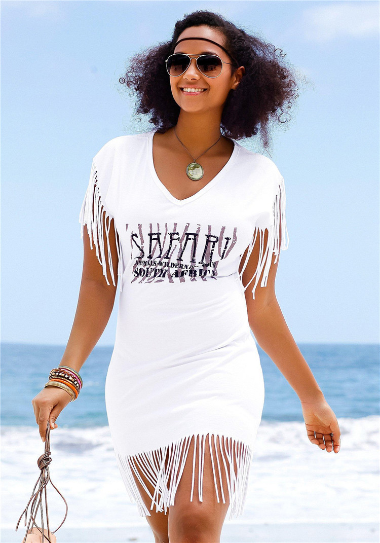 Hot Selling Europe And America Mercerized Stretch Cotton Printed Lettered Cut Tassels Beach Skirt Bikini Cover-up Sun Shirt Wome