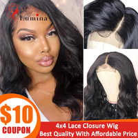 Brazilian 4X4 Lace Closure Wig Body Wave Human Hair Wigs For Black Women Remy Beauty Lumina 180% Density Lace Wig with Baby Hair