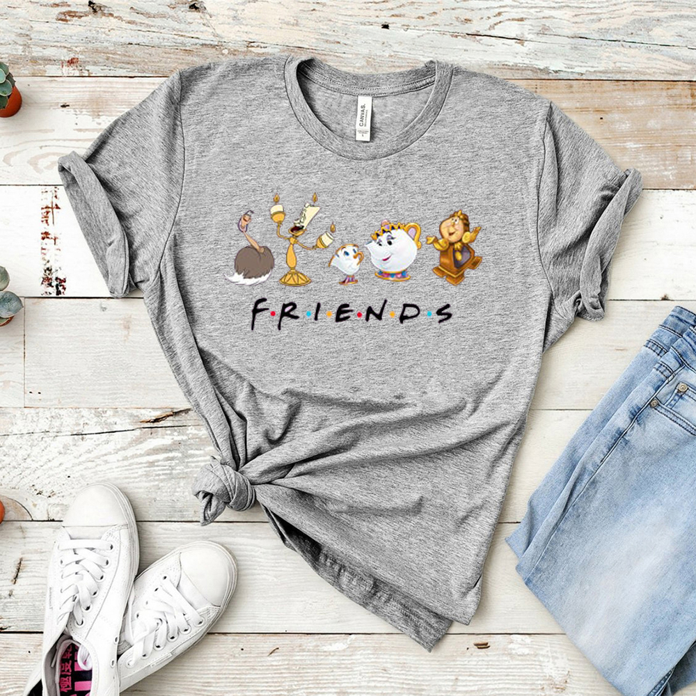 Beauty and The Beast Friends Shirt Cute Vacation Cartoon Graphic Print T-shirt Womens Lovely Couple Top&tee image