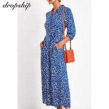 Dropship летнее Повседневное платье макси для женщин 2020, шифоновое элегантное офисное платье для женщин, большие размеры, платье-рубашка