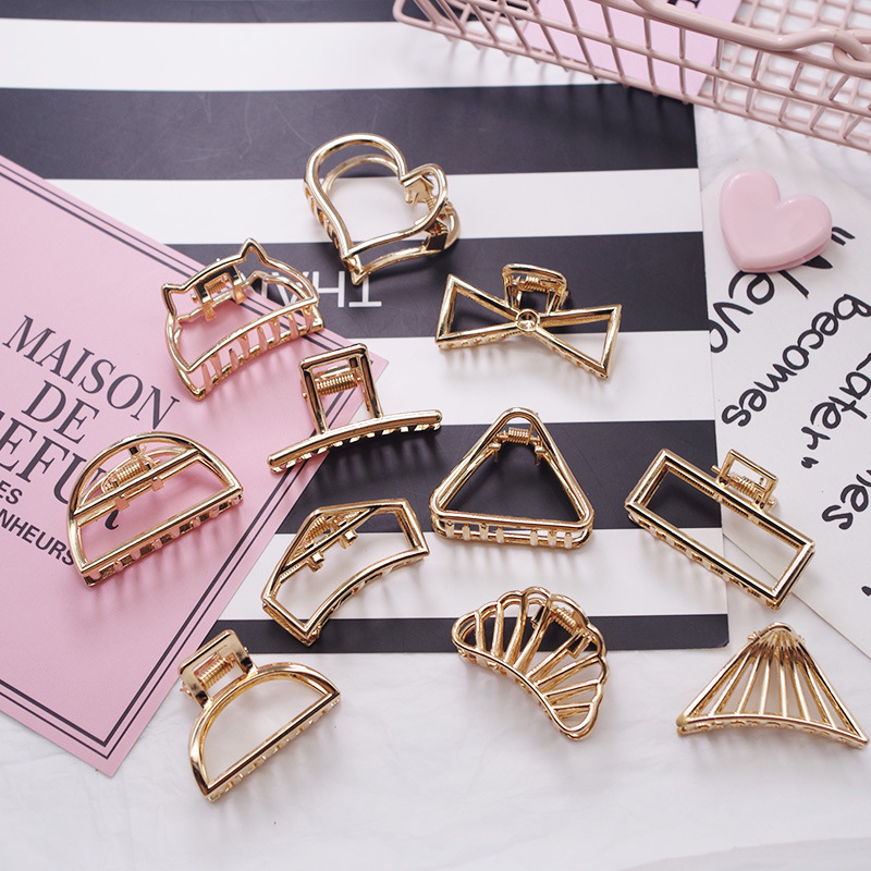 New Fashion Women Gold Geometric Simple Alloy Hollow Hair Clips Hairpin Headband Hair Holder Claw Vintage Hair Accessories