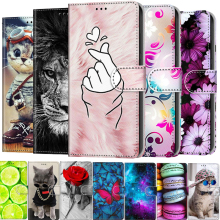 Leather Flip Phone Case For iPhone 12 11 Pro Max X XS 6 7 6S 8 SE 2 2020 12 mini Wallet Card Holder Stand Book Cover Cat Flower