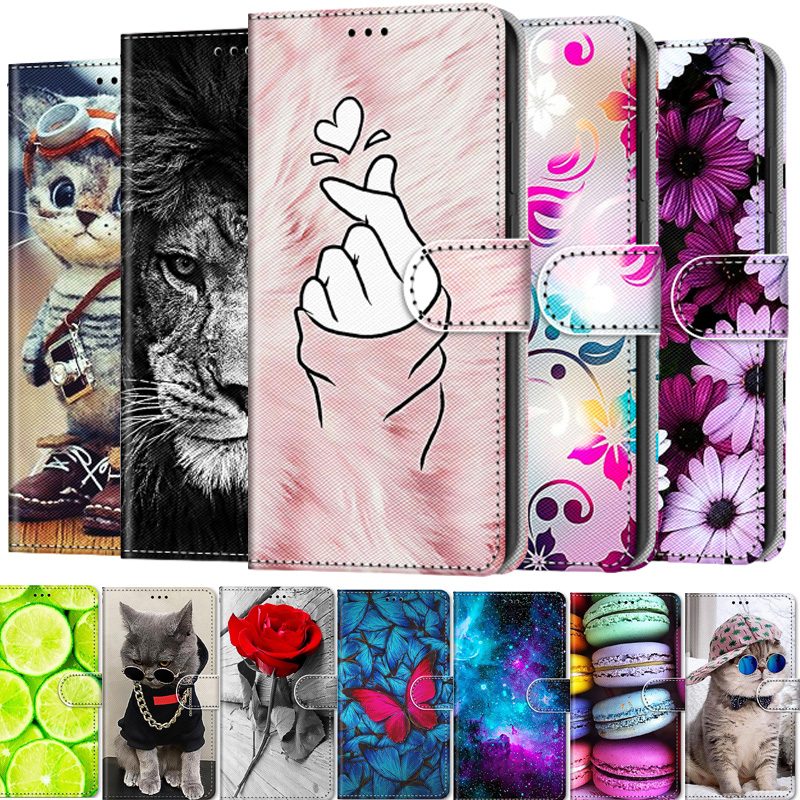 Painted Leather Flip Phone Case For Huawei Honor 7S 8S 9S 8 9 10 20 9A 9C 8X 8A Wallet Card Holder Stand Book Cover Cat Flower