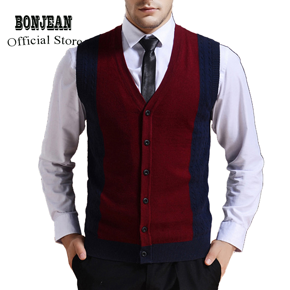 Sweater Cardigan Buttons Down Knit Jacket Vest For Men Sleeveless Wool Stylish Fashion Patchwork Red Grey 2018
