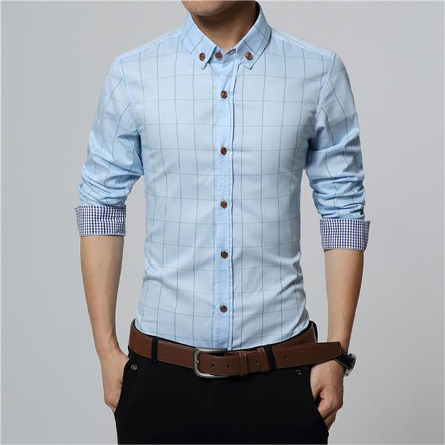 Cotton Plaid Shirt Men Long Sleeve Turn Down Collar Camsia Social Male Casual Shirts Slim Fit Summer Fashion Checkered Chemise