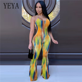 YEYA Sexy Halter Jumpsuit Tie Dye Print Women Sleeveless Open Back Flare Long Pants Hollow Out Club Party Playsuit Overalls tropical print open back halter top
