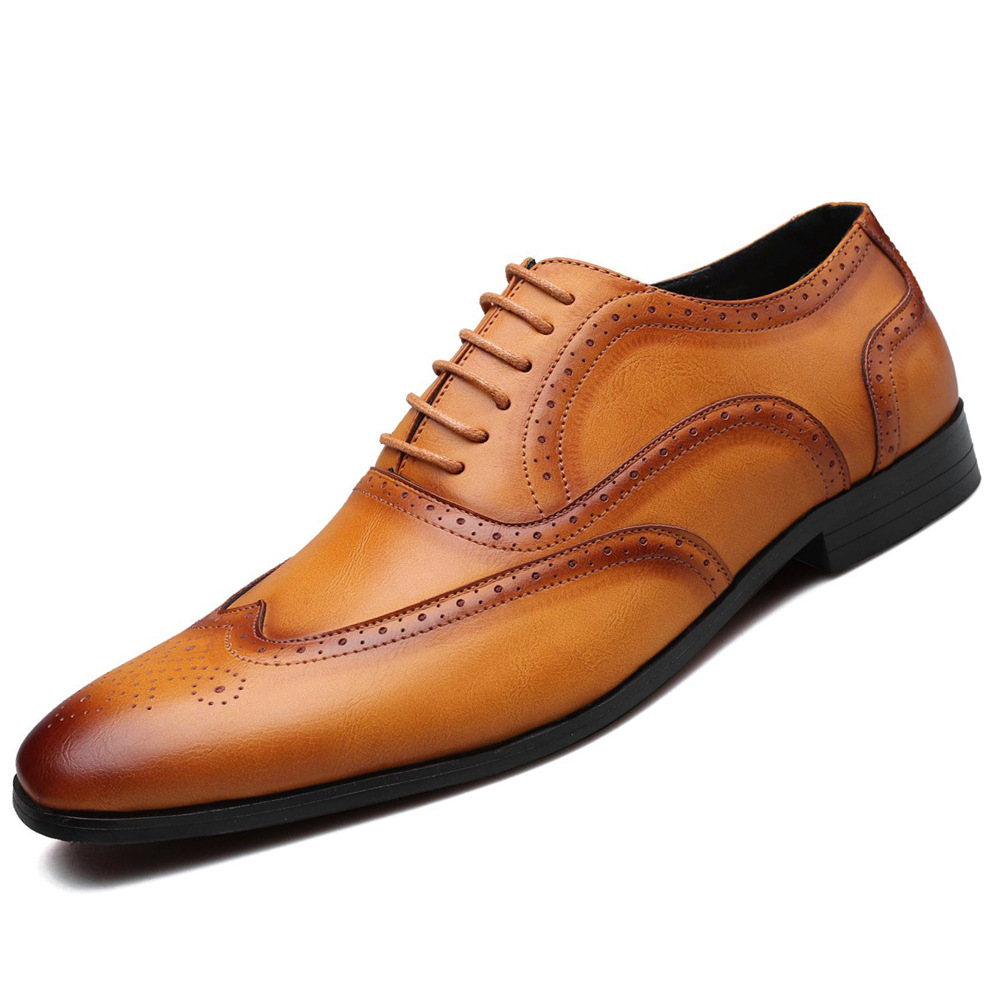 GOXPACER Fashion Business Shoes Men Pointed Toe Brogue Shoes Vintage Flats Single Shoes Formal Plus Size 38-48 New Free Shipping