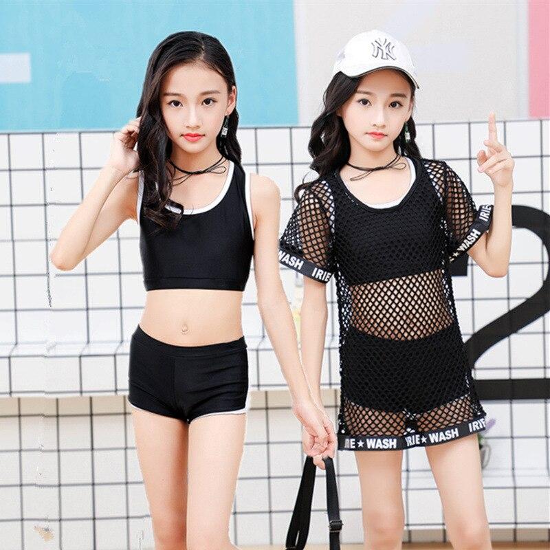 Baby Swimsuit Split Type GIRL'S Swimwear Bikini Children Girls Dacron Pants Large Children Gauze Three-piece Set