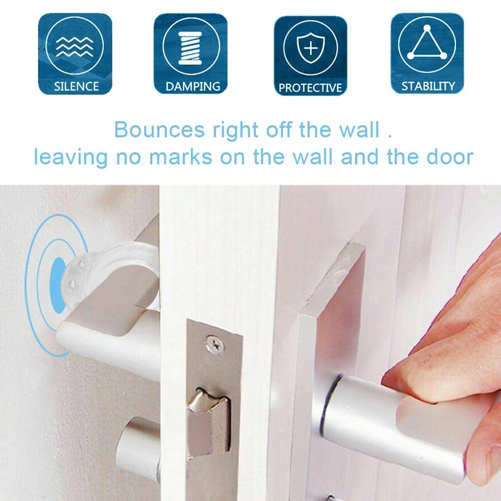 10PCS Transparent Silica gel Door Buffer Wall Protectors Door Handle Bumpers for Door Stopper Doorstop Home Improvement Tool Q40 2