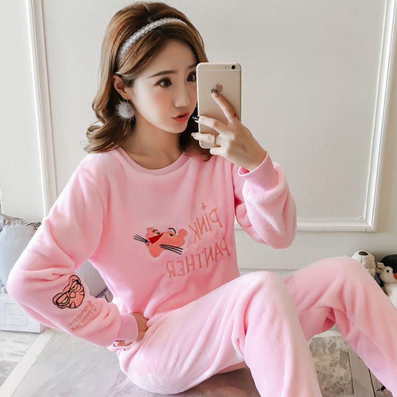 New Style Flannel Pajamas Single Women's (Embroidered Mouth Leopard) Pink Gray Set