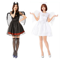 Fallen Angels Black White Dress Women Halloween Scary Cosplay Costumes Wings Mesh Lace Sexy Vintage Gothic Medieval Lolita Dress