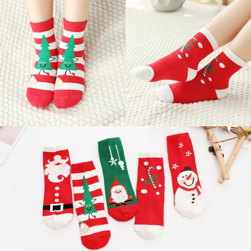 5Pair/lot Cotton Spring Winter Autumn Baby Girls Boys Kids Socks Children Striped Snowflake Santa Claus Christmas Bear Socks