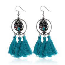 Fashion Bohemian Tassel Owl Dangle Earrings Personality Temperament Geometry Alloy Resin Drop