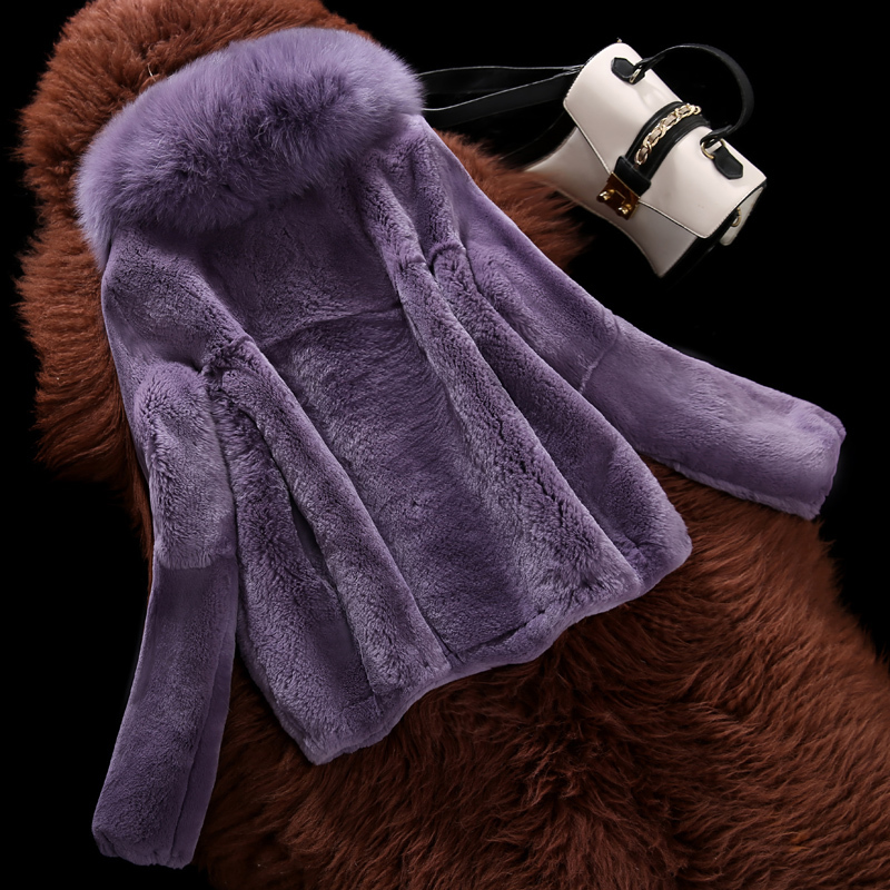 Rabbit Rex Real Fur Coat Female Fox Fur Collar Fur Coats Winter Jacket Women Hooded Korean Jackets Manteau Femme MY4164 S S