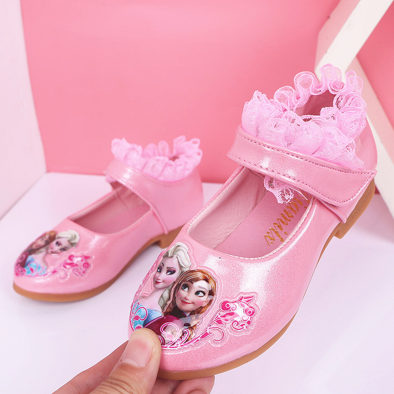 New Trend Children  Shoes Gifts For Girls Princess Singel Shoes Lace Cartoon Flat Shoes Soft Botoom PU Leather Shoes Size 26-35