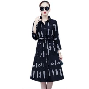 3509Spring Autumn Trench Coat For Women Tie Waist Thin Duster Coat Suncreen Windbreaker Loose