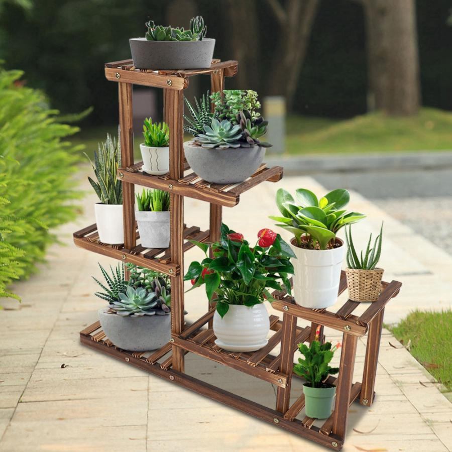 Multi tiers Flower Plant Holder Stand Rack Wooden Plant Stand Balcony  Garden Flower Plant stand Bonsai Display Shelf