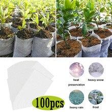 100 pces sacos biodegradáveis para potes de plantas de berçário para o cultivo de potes vegetais para o cultivo de jardim berçário crescer sacos seguros