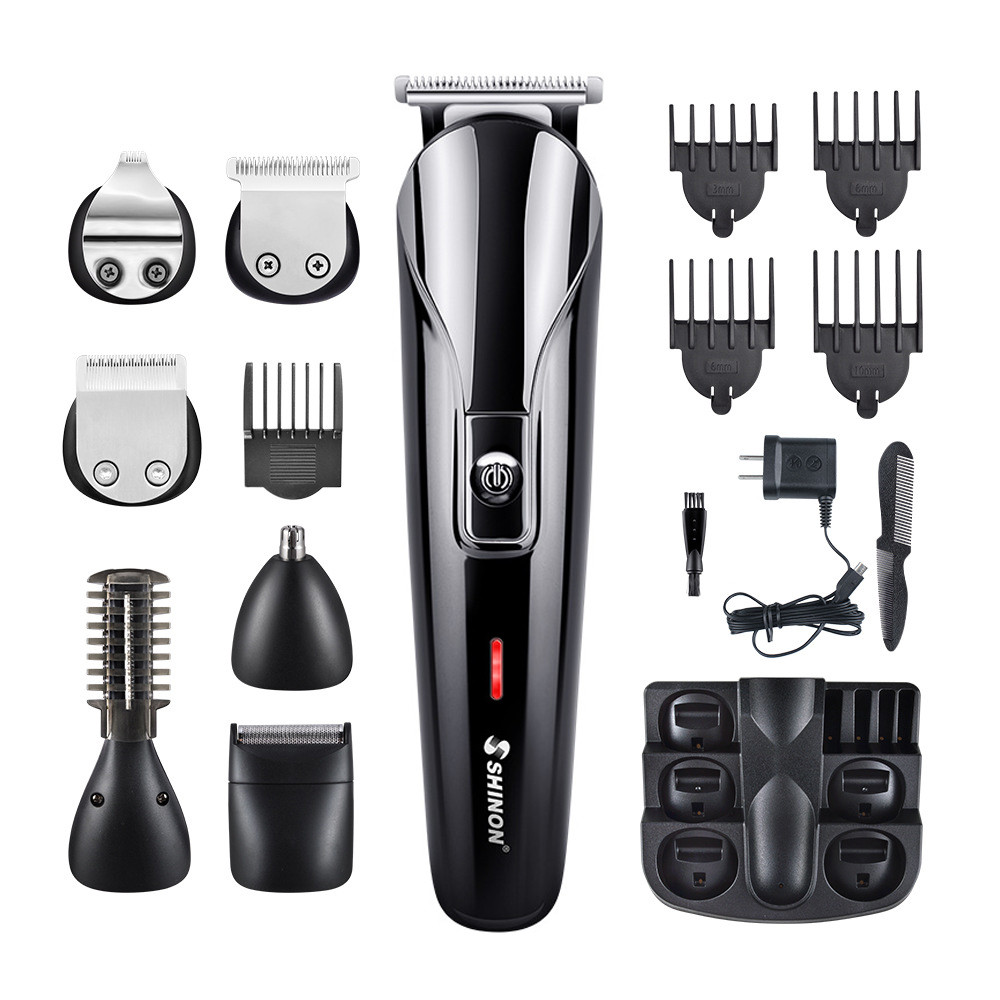 Men Professional Electric Hair Clipper 6 In 1 Multifunctional Hair Cutter Machine Rechargeable Hair Trimmer For Beard Nose Ears