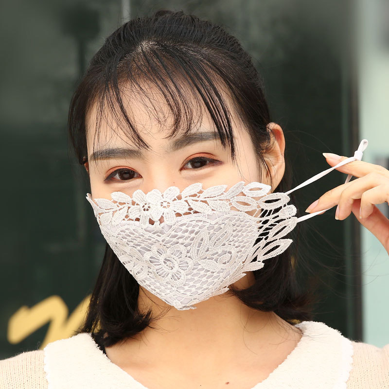 Lace Embroidery Summer Ice Silk Korean Ladies Mask Sexy Personality Breathable Sunscreen Mask Student