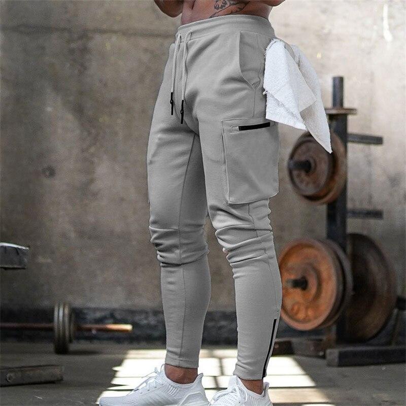 Mens Jogger Pnats Sweatpants Man Gyms Workout Fitness Cotton Trousers Male Casual Fashion Skinny Track Pants Zipper design Pants