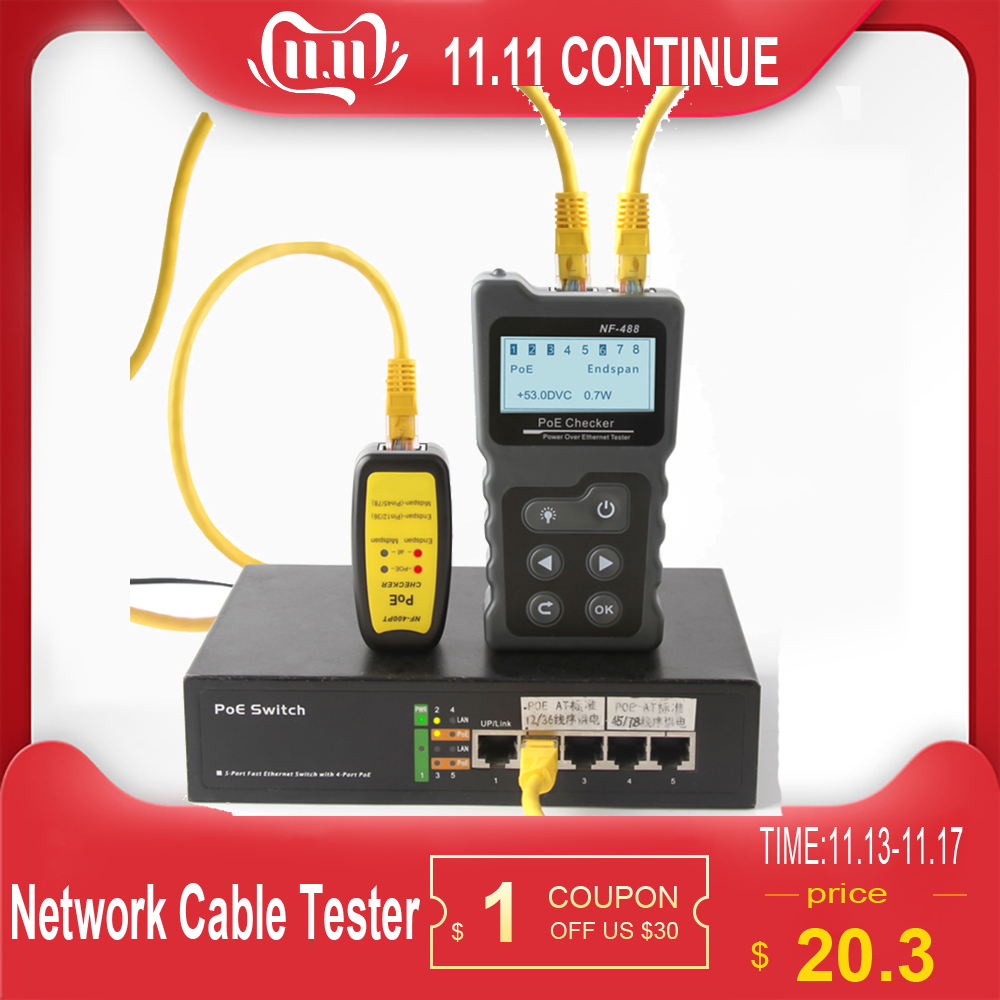Multi-functional LCD Network Cable Tester PoE Checker Inline PoE Voltage And Current Tester With Cable Tester