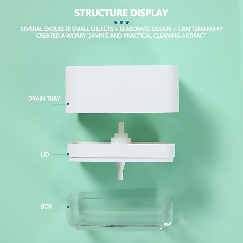 Кухня мыло дозатор с губкой ящик губка стиральная машина пластик средство для мытья посуды жидкость моющее средство нажимной мыло дозатор для кухни