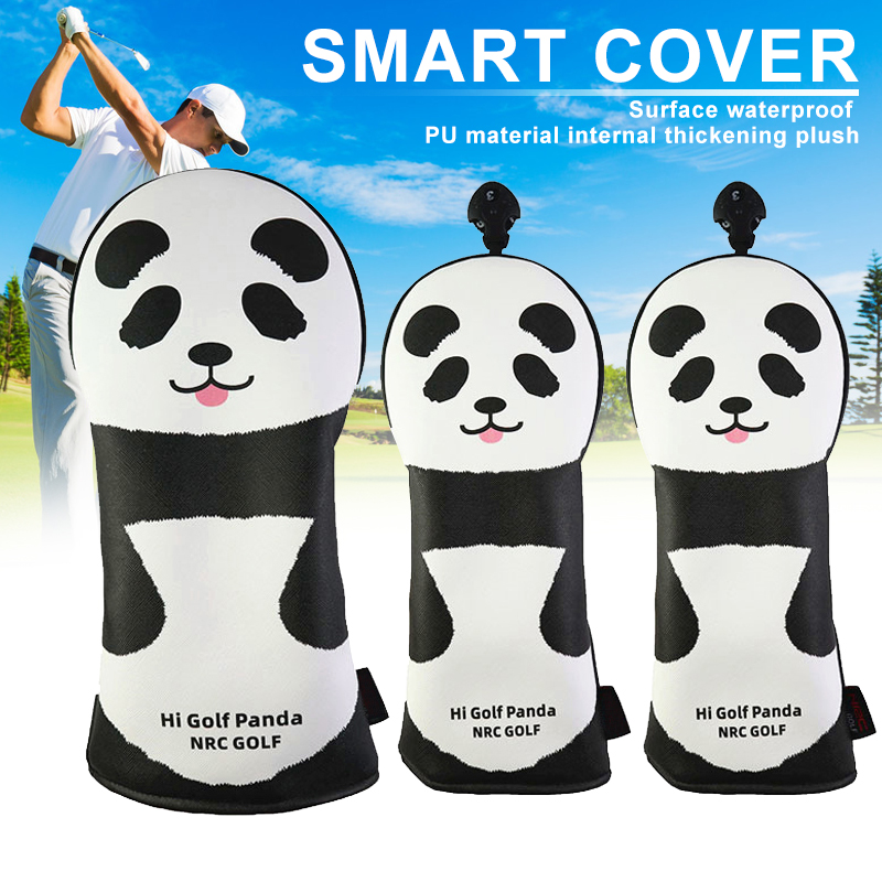 3pcs Printed Panda Golf Clubs Head Covers Set Headcover Drivers Fairway Protective Covers SEC88