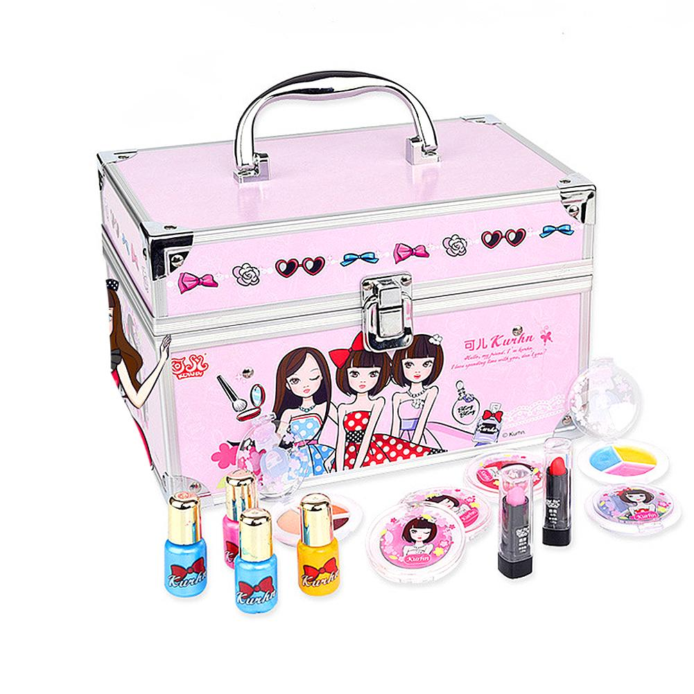 16 Combination Sets Cosmetic Box Set Children Cosmetic Toys Double Cosmetic Box Washable Non-toxic Material Practical In Use