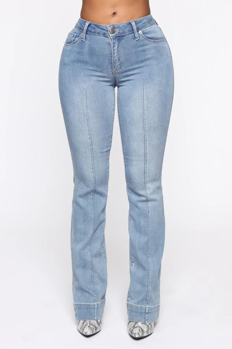 Casual women s high waist jeans loose denim light blue jeans pants casual ladies chic floor
