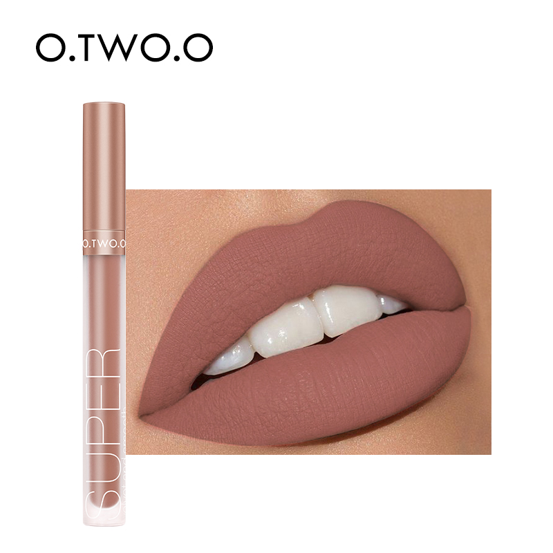 O.TWO.O Liquid Lipstick Matte Lip Gloss Cosmetic Lightweight Lip Glaze Long Lasting Lip Tint Waterproof 12 Color Lips Makeup