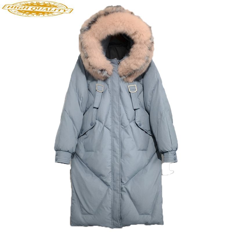 Women's Winter Down Jacket Hooded Long Duck Down Coat Real Raccoon Fur Collar Korean Puffer Jacket 2020 L0707 KJ3715