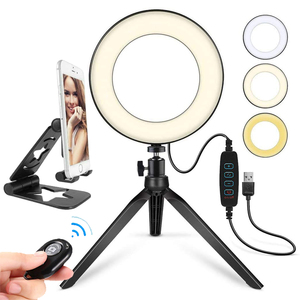 Image 1 - Selfie Makeup Live Vlog Streaming YouTube Fill Ring Light Photography Ringlight Lamp LED Dimmable Tripod Stand Phone Holder