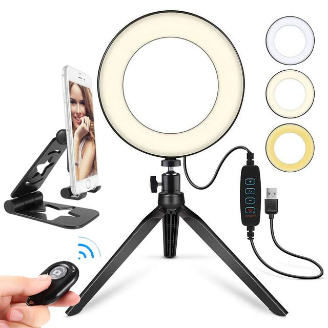 Selfie Makeup Live Vlog Streaming YouTube Fill Ring Light Photography Ringlight Lamp LED Dimmable Tripod Stand Phone Holder