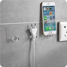 Hanger Hook Socket-Holder Organization Office Storage Adhesive Home Wall 2 2pcs Power-Plug