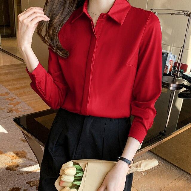 QoerliN Elegant Satin Blouse Autumn Spring Turn-Down Collar Single-Breasted Long Sleeve Female Chiffon Shirt Ladies Blouse Plus 14