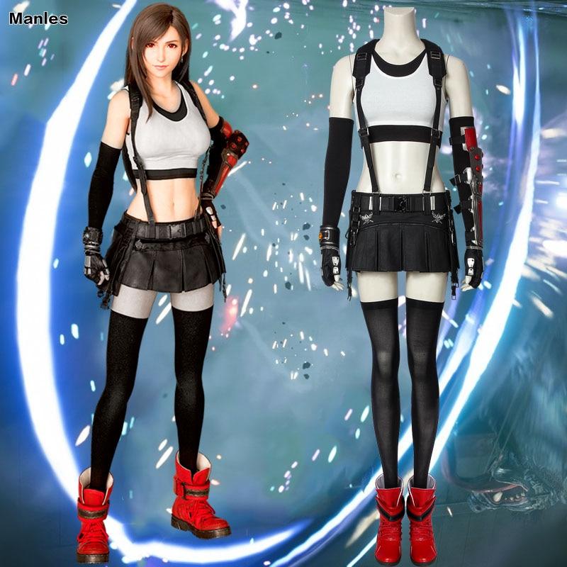 Game Final Fantasy VII Cosplay Tifa Lockhart Costume Fancy Dress Skirt Halloween Costumes For Women Carnival Adult Boots Girl