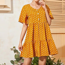 Fahionable Polka Dot Chiffon O Neck Short Sleeved Dresses Women 2021 New Spring Summer Oversized Yellow Pleated Mini Dresses